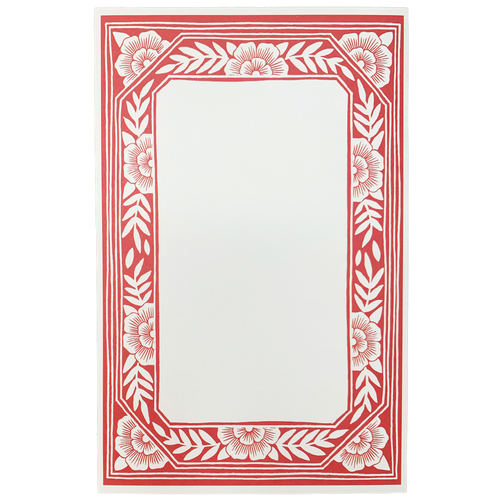 Red Floral Frame Notepad