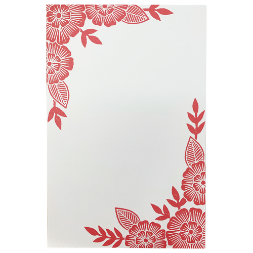 Red Floral Notepad