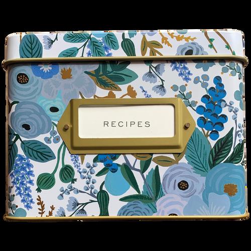 Garden Party Blue Recipe Box