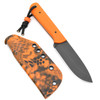 Joey Roman Bushcrafter 1095 Acid Wash Orange G10 Kydex Sheath w/ Clip