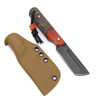 Joey Roman Tanto 1095 Acid Wash Red/Brown Marbled Resin Wood Kydex Sheath w/ Clip