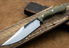 Lon Humphrey Custom Knives - Hickok Bowie Green Micarta/White & Blue G10 Liners, 52100 Forged