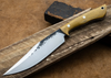 Lon Humphrey Custom Knives - Hickok Bowie Natural Micarta/White & Black G10 Liners, 52100 Forged