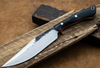 Lon Humphrey Custom Knives - Hickok Bowie Black Micarta/Orange G10 Liners, 52100 Forged