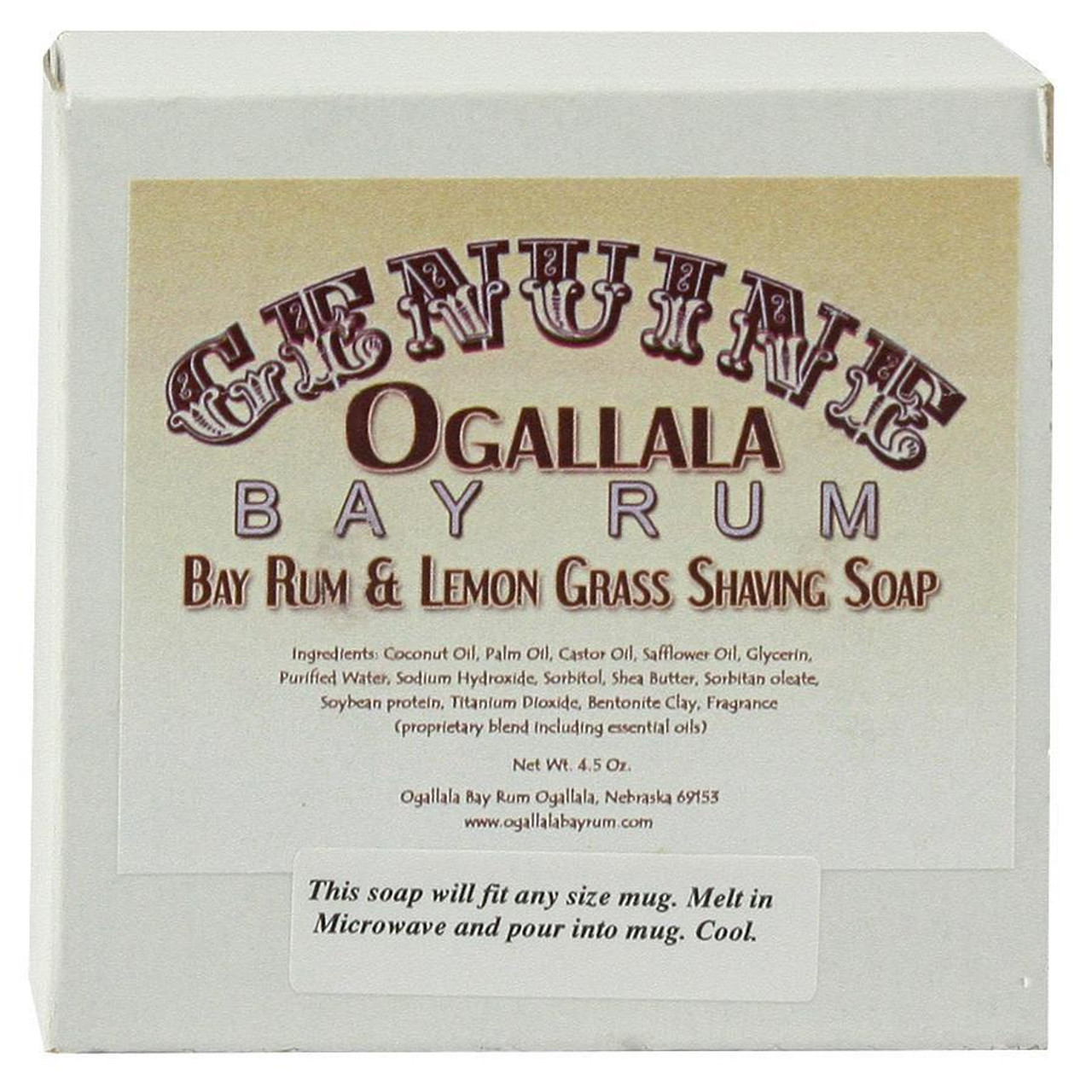 Ogallala Bay Rum & Lemongrass Shave Soap, 4.5oz