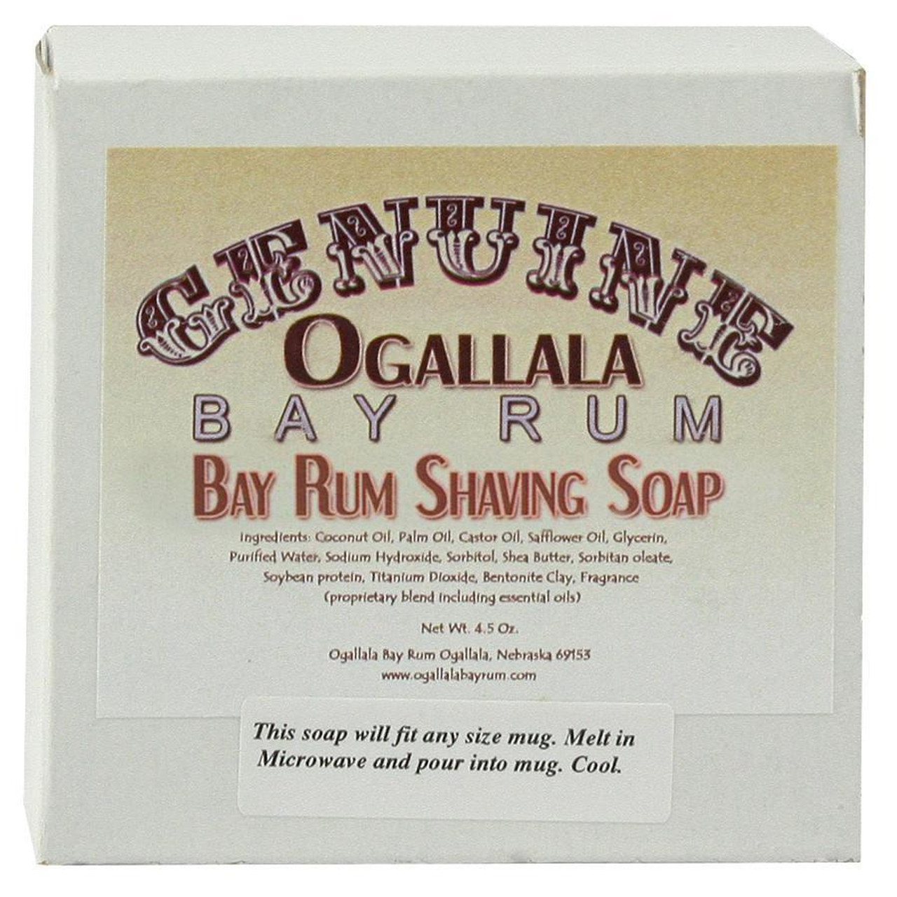 Ogallala Bay Rum Shave Soap, 4.5oz