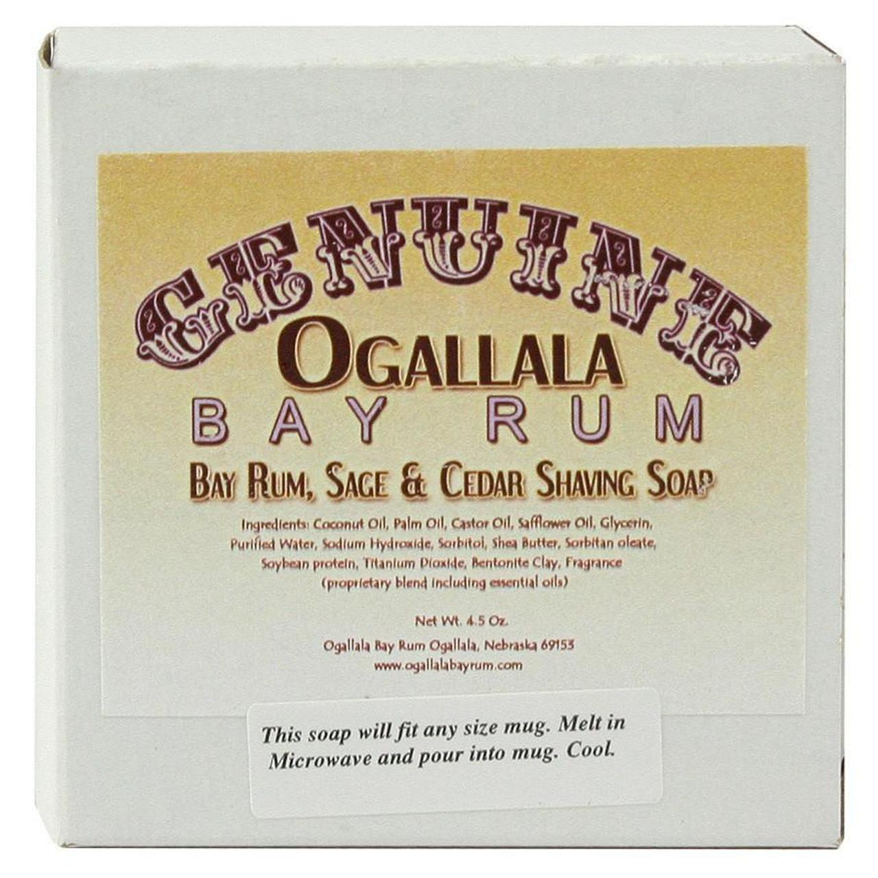 Ogallala Bay Rum, Sage & Cedar Shave Soap, 4.5oz