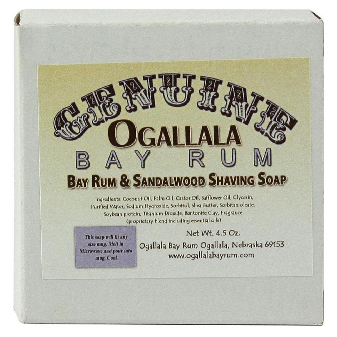 Ogallala Bay Rum & Sandalwood Shave Soap, 4.5oz