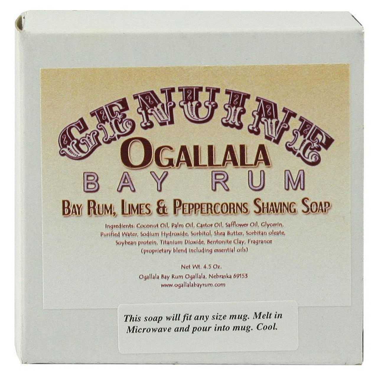Ogallala Bay Rum, Lime & Peppercorn Shave Soap, 4.5oz