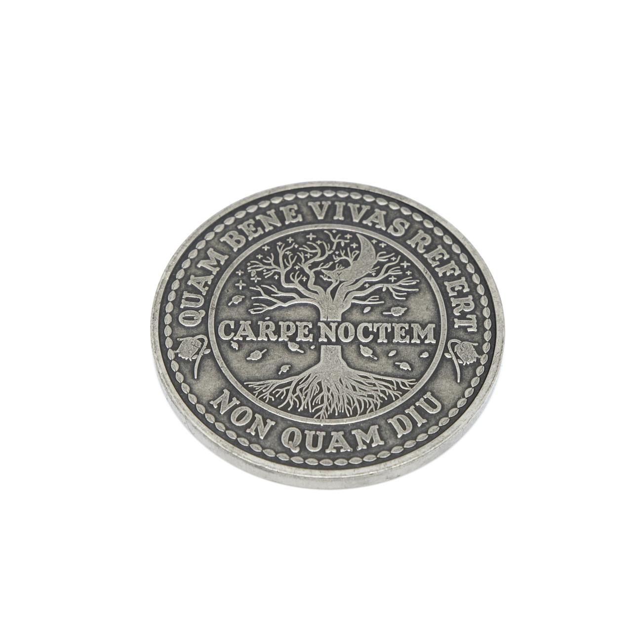 Carpe Noctem Coin Antique Silver Finish ASLV