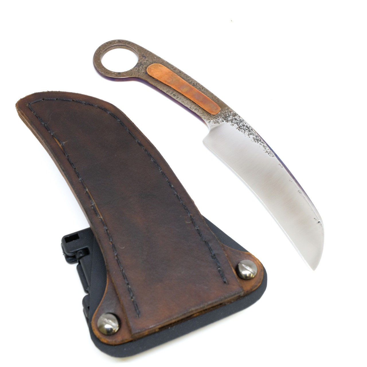 JC Ringed Handle Copper Inlay Leather Horizontal Sheath