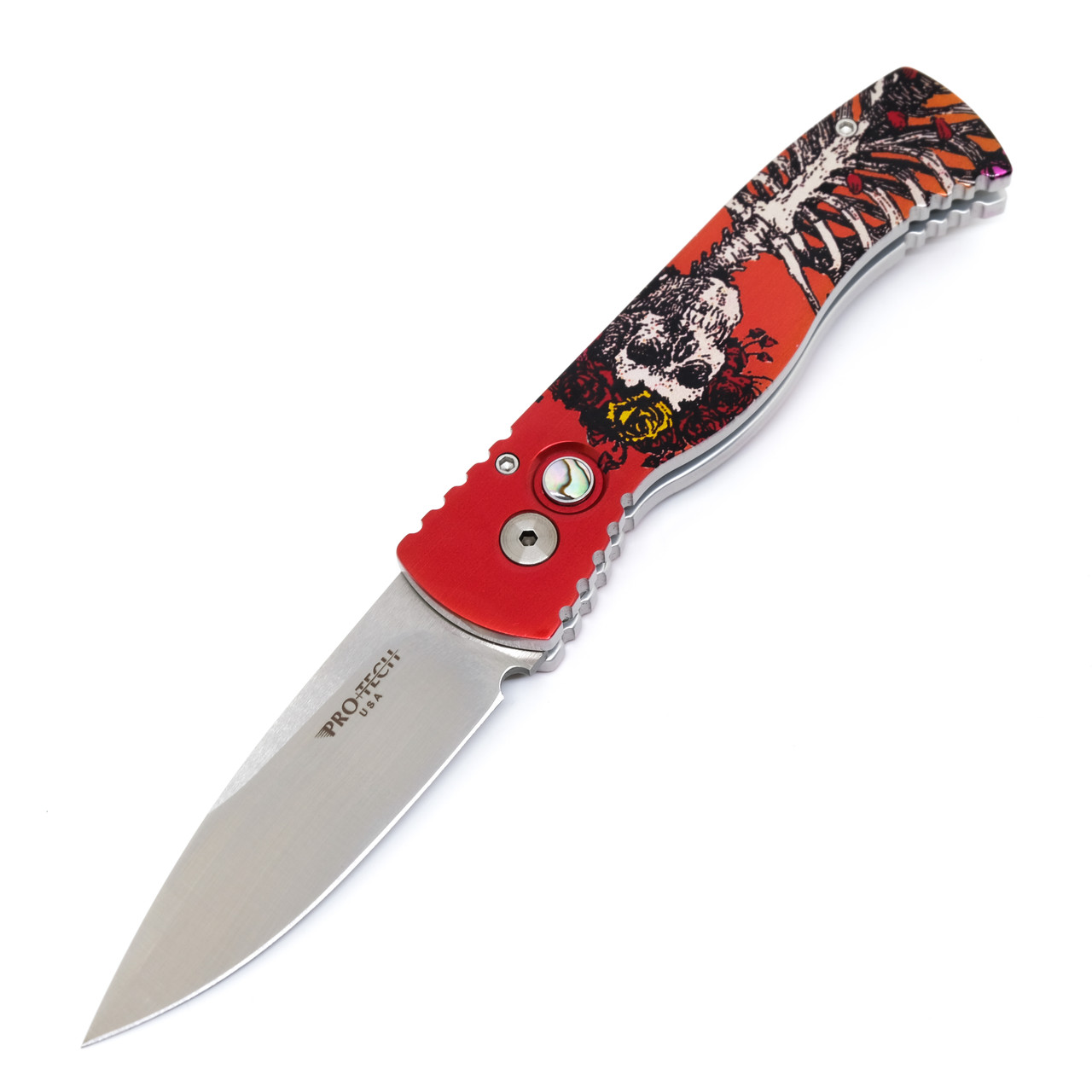 Protech TR-2.41 Skeleton Rose Custom LE PK Mirror Polish Satin Blade