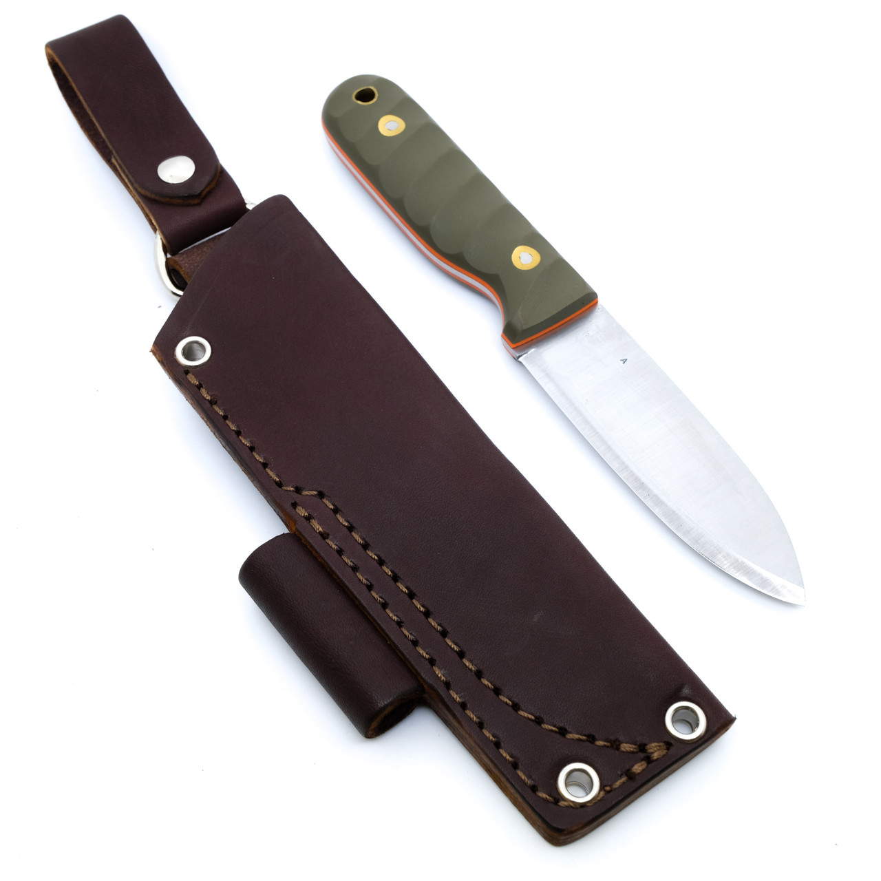 LT Wright Bushcrafter A2 Scandi OD G10 w Orange Liner