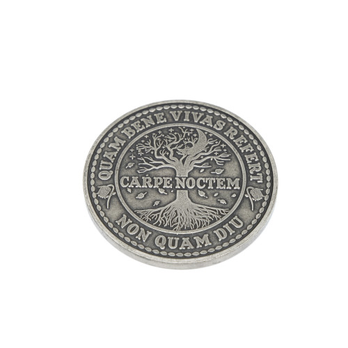 Carpe Noctem Coin Antique Silver Finish ASLV