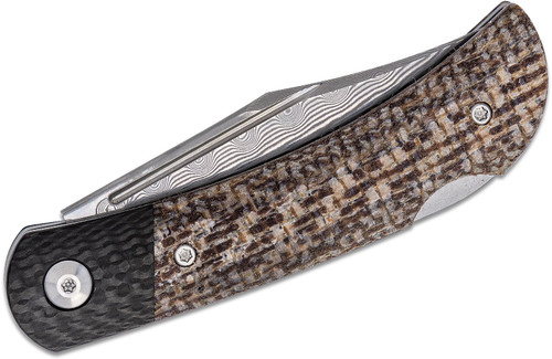 Civiv C914DS-2 Rustic Gent Brown Matrix Micarta Handle w/ Carbon Fiber Overlay Damascus Blade