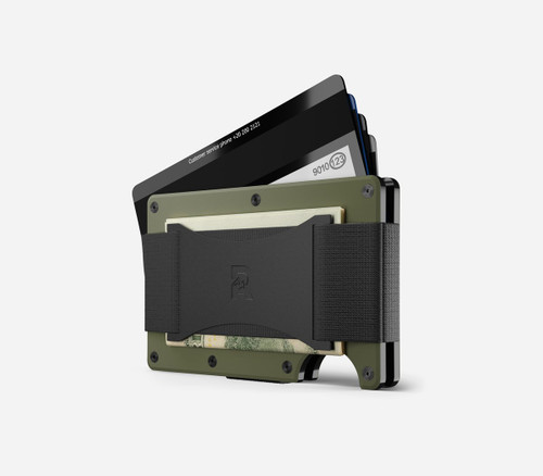 Ridge Wallet Aluminum OD Green, Cash Strap