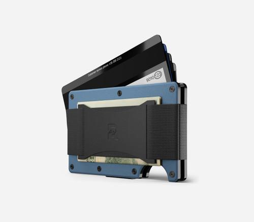 Ridge Wallet Titanium Matte Cobalt, Cash Strap