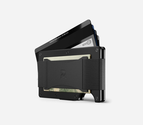 Ridge Wallet Titanium Matte Black, Cash Strap
