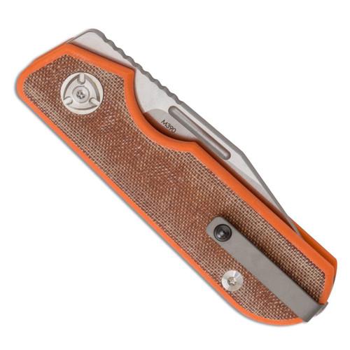 Liong Mah Design Traveler - Brown Micarta Clip Point M390