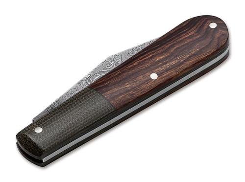 Boker 100501 Barlow Integral Slip Joint Leopard Damascus Knife Desert Ironwood
