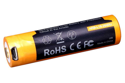 Fenix 18650 USB Rechargeable Battery 2600 mAh
