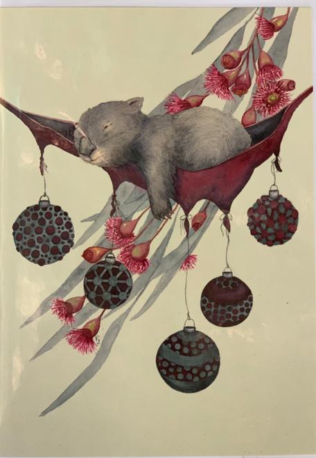 PJ Paintings by Tasmanian Artist - Christmas Siesta (wombat)