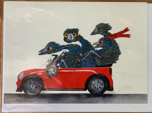 PJ Paintings by Tasmanian Artist - Family outing (Emu)