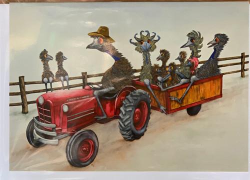 PJ Paintings by Tasmanian Artist - Hayride (Emu)