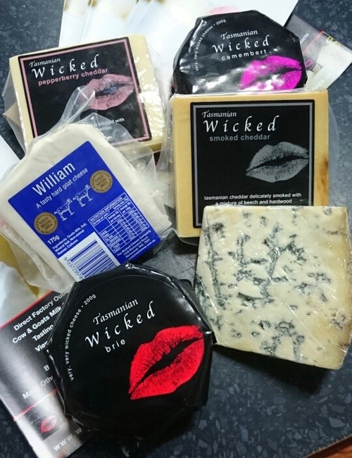 Wicked 6 pack 2 x cheddars 175 g each 2 x soft cheese 150 - 200g Brie, Camembert, Triple cream Brie 1 x hard goats cheese 175g 1 x blue vein (cows milk)