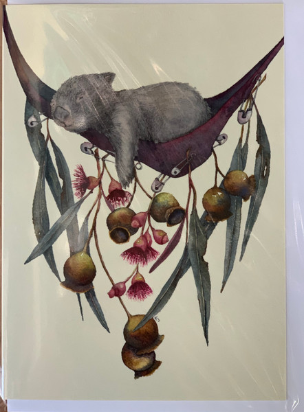 PJ Paintings by Tasmanian Artist - Hanging Out (wombat)