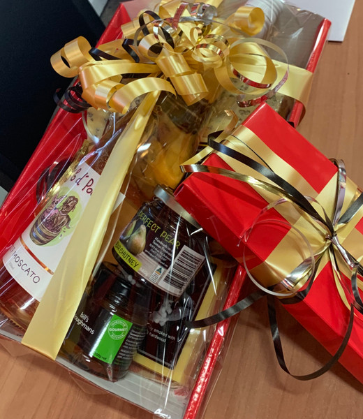 Gift wrapping - hamper tray, wrap & ribbon