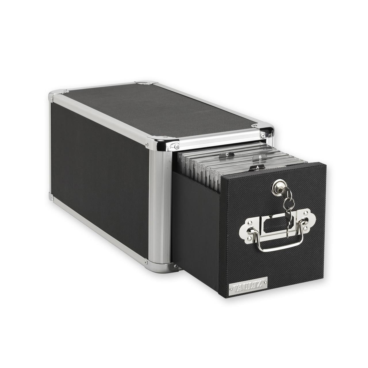 Locking Single Drawer Cd File Cabinet Black Vaultz Vz01173