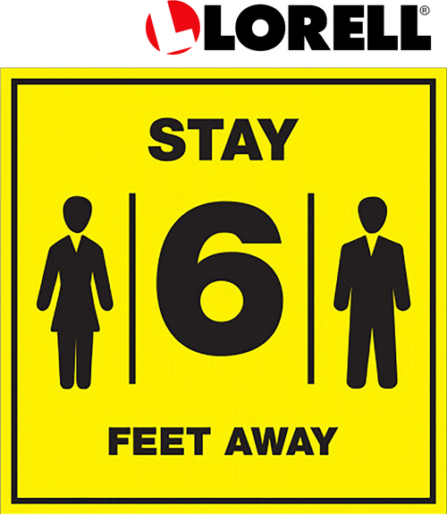 Lorell Stay 6 Feet Away Bright Yellow Sign