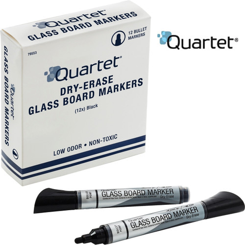 Quartet® Premium Glass Board Dry-Erase Markers, Bullet Tip, Black, 12 Pack