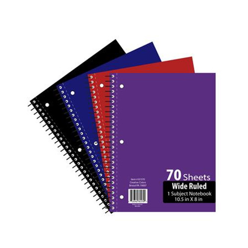 Notebook 70 Sheet Wide Ruled 10.5""