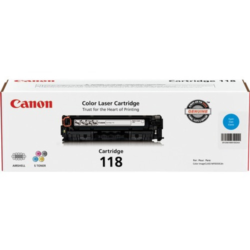 Canon CRTDG118-CY Original Toner Cartridge Laser - 2900 Pages - Cyan - 1 Each