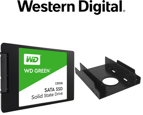 "Purchase a WD Green WDS120G2G0A 120 GB Solid State Drive - 2.5"" Internal - SATA (SATA/600) Get a SIIG SC-SA0H12-S1 Drive Mount Kit Free with purchase (WDS120G2G0A)"