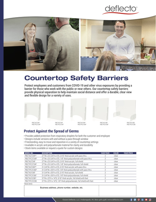"Deflect-o Countertop Safety Barrier Full Shield with Feet, 31""W x 23""H, 1/8"" Order in increments of 2"