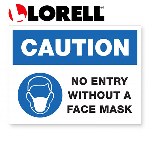 Lorell CAUTION No Entry Without A Face Mask Sign