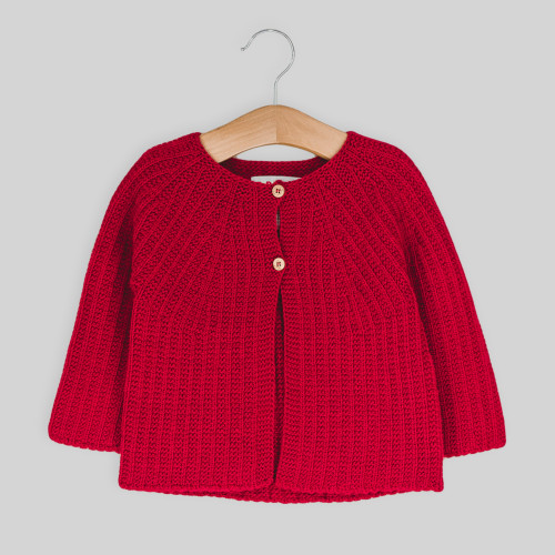 Toddler knitted jacket, crimson, with 2 button fastening, on a hanger