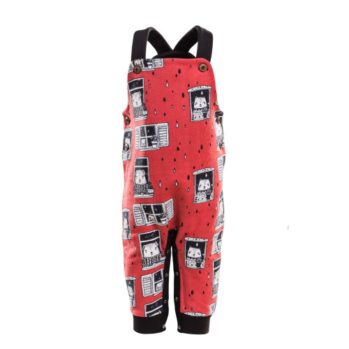 Baby & toddler unisex dungarees with red rain watchers print - front