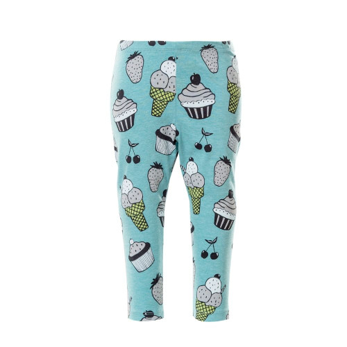 Baby & toddler unisex leggings with sweets and fruit print, front view