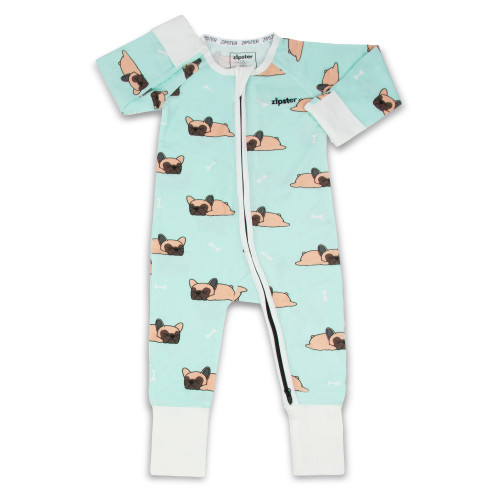 Unisex pale blue sleepsuit with Frenchie bulldog print - front