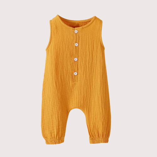 Baby & toddler sleeveless cotton unisex romper in warm yellow colour with 4 buttons at front