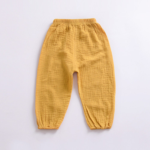 Baby & toddler organic cotton trousers in warm yellow colour
