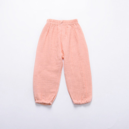 Baby & toddler trousers, made from organic cotton, light pink colour.