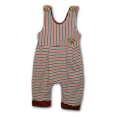 Sleeveless unisex baby romper with narrow blue, red and white stripes