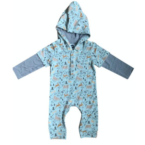 Baby and toddler hooded romper with forest animals print, plain sleeves and hood lining