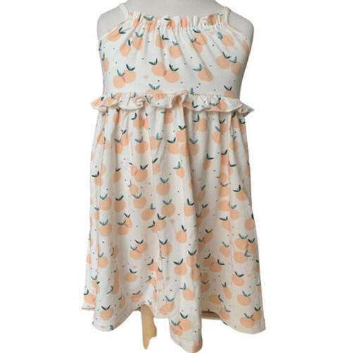 Toddler summer sleeveless play dress with peach print