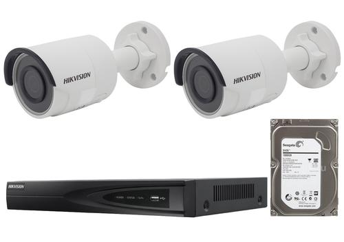 4 Megapixel 2-Cameras Hikvision CCTV kit - Bullet IP Cameras (DS-2CD2045FWD-I F2.8)